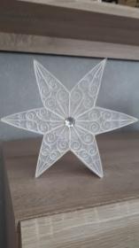 Weihnachtsstern mit LED-Teelicht, weiss, 20 cm, Handarbeit aus Kartonpapier, Unikat