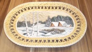Birkenrinden-Wandteller,  Motiv Winterlandschaft, Handarbeit, Unikat, 36 cm - Handarbeit kaufen