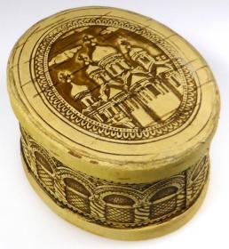 Birkenrinden-Dose mit Deckel, Motiv Kloster, Handarbeit, Unikat, 10,5 cm - Handarbeit kaufen