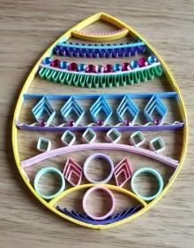 Osterei mit bunten Glitzersteinen mit Aufhänger aus starkem Kartonpapier, Handarbeit, 16,5x11,5 cm, Unikat - Handarbeit kaufen