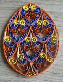 Osterei in bunten Farben mit Aufhänger aus starken Kartonpapier, Handarbeit, 13 x 9 cm, Unikat - Handarbeit kaufen