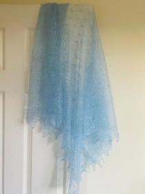 Kalinka-Orenburg-Schal aus Ziegenwolle mit 20% Seide, 135 x 135 cm, Farbe: hell-terracotta #16, Unikat / Handarbeit  - Handarbeit kaufen