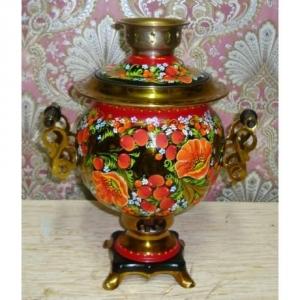 Handgemalter elektrischer Samovar / Teekocher, Unikat, 3 Liter, Blumenmotiv, rund - Handarbeit kaufen