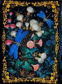 Russische Lackschatulle Serie Blumen # 1, Libellen, groß, 13x18 cm    - Handarbeit kaufen