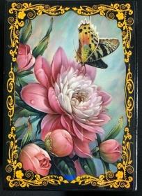 Russische Lackschatulle Serie Blumen # 2, Pfingstrose, groß, 13x18 cm - Handarbeit kaufen