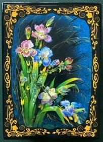 Russische Lackschatulle Serie Blumen # 5, Lilien und blaue Iris, groß, 13x18 cm   - Handarbeit kaufen
