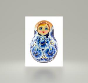 Stehaufpuppe Matroschka, blau, ca. 11 cm, Handarbeit, Unikat - Handarbeit kaufen
