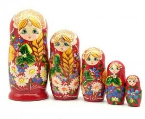 Handgearbeitete Matroschka mit Blumenmotiv, 5-er Set, 18 cm, Unikat   - Handarbeit kaufen