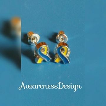 Ohrstecker Blau-gelbe Schleife Down-Syndrom ♥ Bekenntnisschmuck♥ Trisomie21