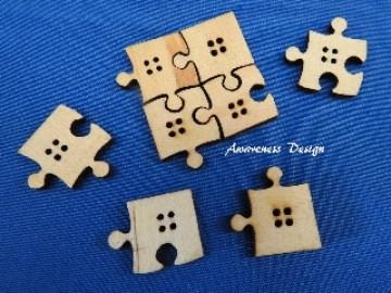 Holzknöpfe Puzzle 8 Stück ♥ Dekoknöpfe Bastelknöpfe