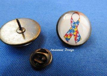 Cabochon Pin ♥ Autismusschleife ♥ Anstecker Brosche Bronze