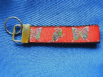 Rotes Schlüsselband mit Schmetterlinge glitzernd ♥ Schlüsselanhänger