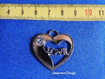 Herz Love Anhänger Metall mit Steinchen zur Schmuckherstellung