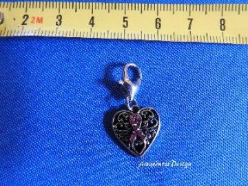 Charm Anhänger Herz mit rosa Schleife Strass Metallanhänger