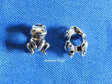 Frosch Großlochperle ♡ Metallperle zur Schmuckherstellung