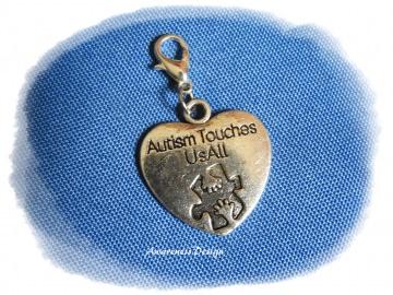 Charm Herz-Anhänger Autism Touches Us All ♡ Metallanhänger Autismus