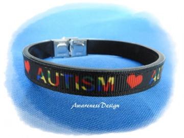 Armband mit Ripsband Autism ♡ Autismus Kunstleder