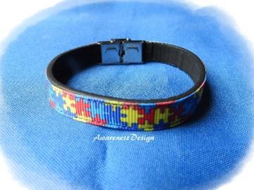 Armband mit Ripsband Puzzlemotiv ♡ Armband Kunstleder Puzzleteile