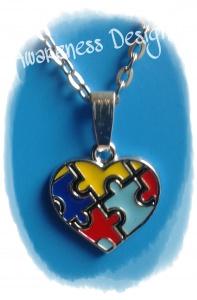 Gliederkette mit Herzanhänger Puzzle ♡ Puzzleteile Kette