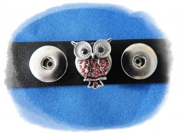 Druckknopf  Click-Button Oberteil  Eule mit rosa Steinchen  - Druckknopfschmuck Klick-Button Zubehör  Wechselschmuck