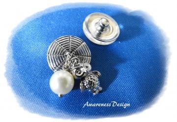 Druckknopf   Oberteil  mit Anhänger Eule und Perle   - Druckknopfschmuck Button Zubehör  Wechselschmuck