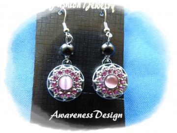 Ohrhänger Druckknopf rosa Strass auswechselbar ♡ Ohrringe Wechselschmuck Modeschmuck