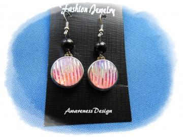 Ohrhänger mit Druckknopf rosa schimmernd auswechselbar ♡ Ohrringe Wechselschmuck