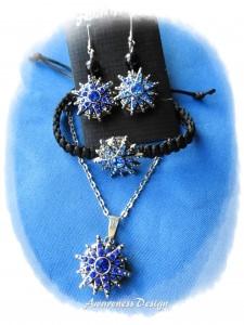 Schmuckset mit  Druckknöpfen Stern mit blauen Strass auswechselbar ♡ Kette Ohrringe Armband Wechselschmuck Klick-Button