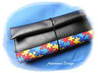 Tabaktasche / Tabakbeutel Schwarz mit Puzzle-Ripsband Kunstleder handgemacht Unikat