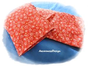 Körnerkissen / Wärmekissen mit auswechselbaren Bezug 4-Kammern-Füllung Herbstblätter rot
