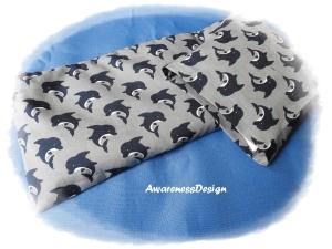 Körnerkissen / Wärmekissen mit auswechselbaren Bezug 4-Kammern-Füllung Delfine Grau/Blau