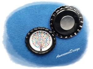 Kühlschrankmagnet Puzzlebaum  Kronkorkenmagnet Bottlecap  Autismus