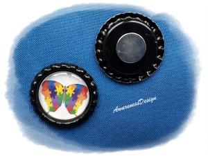 Kühlschrankmagnet Schmetterling in  Puzzleform  Kronkorkenmagnet Bottlecap  Autismus