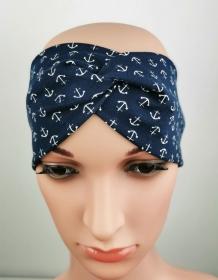 Haarband Anker blau Meer Knoten Jersey elastisch - Handarbeit kaufen