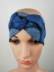Haarband Mandala blau symmetrisch Knoten Jersey elastisch - Handarbeit kaufen