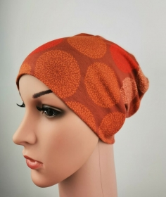 Beanie Damen Mandala rost Frauen one size Jersey Baumwolljersey rostrot - Handarbeit kaufen