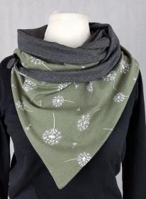 Loop Pusteblume grün oliv Knopf Jersey Zipfel Wickelschal Zipfelloop  - Handarbeit kaufen