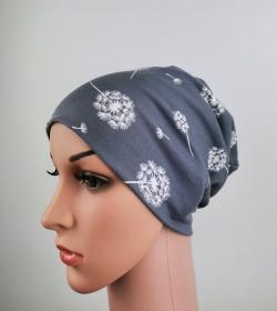 Beanie Damen Pusteblume grau Frauen one size Jersey Baumwolljersey  - Handarbeit kaufen