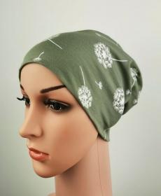 Beanie Damen Pusteblume grün oliv Frauen one size Jersey Baumwolljersey  - Handarbeit kaufen