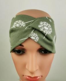 Haarband Pusteblume grün symmetrisch Knoten Jersey elastisch - Handarbeit kaufen