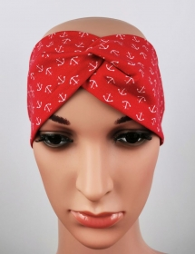 Haarband Anker rot Meer Knoten Jersey elastisch - Handarbeit kaufen