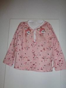 Niedliches Langarm -Knopfshirt,Gr,80, Jersey - Handmade