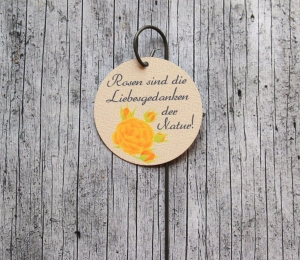 Blumenstecker mit Spruch Poesie4 Rose gelb Blumenschmuck Dekoration Geschenk homedeko Hochzeit Valentinstag