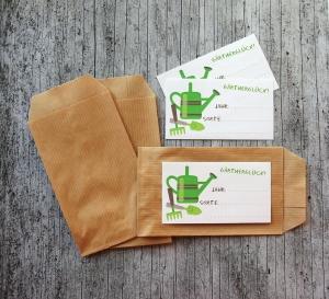 Etiketten GärtnerGlück von ZWEIFARBIG mit Samentütchen 10er Set Saatgut Aufbewahrung Aufkleber Sticker Papiertüte eigenes Saatgut Garten
