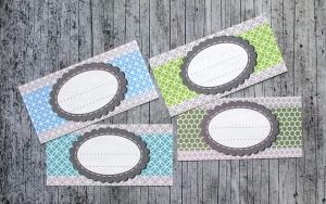 Einmachetiketten **geMustert1** von ZWEIFARBIG 12 Stück gummiertes Papier Aufkleber Marmeladenetikett Sticker Dekoration - Handarbeit kaufen