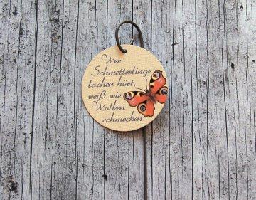 Blumenstecker Poesie2 von ZWEIFARBIG Tagpfauenauge mit Spruch Blumenschmuck homedeko Geschenk Dekoration Geburtstag