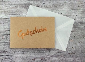 Klappkarte Gutschein Kraftpapier Kupfer Geburtstag Grußkarte Geburtstagsgrüße Geburtstagskarte
