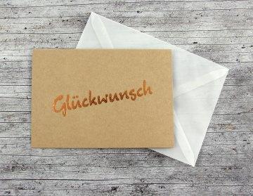 Klappkarte **Glückwunsch** von ZWEIFARBIG Kupfer Kraftpapier Geburtstag Glückwunschkarte Geburtsgrüße Grußkarte Glückwünsche - Handarbeit kaufen