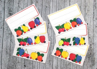 Einmachetiketten **Früchtchen2** von ZWEIFARBIG 12 Stück gummiertes Papier Etiketten Aufkleber Sticker Dekoration Marmeladenetiketten - Handarbeit kaufen
