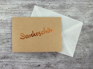 Klappkarte **Dankeschön** von ZWEIFARBIG Kraftpapier Kupfer Grußkarte Gutschein Danksagung Geburtstag - Handarbeit kaufen
